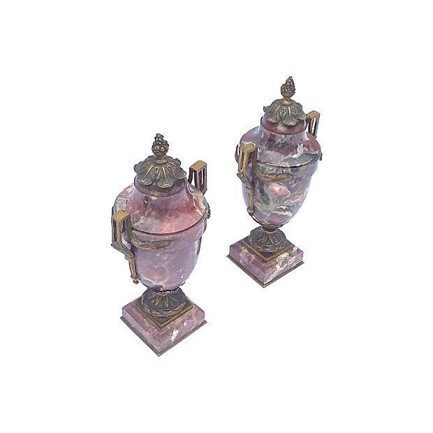Antique Marble & Brass Urns - A Pair - Image 2 of 7
