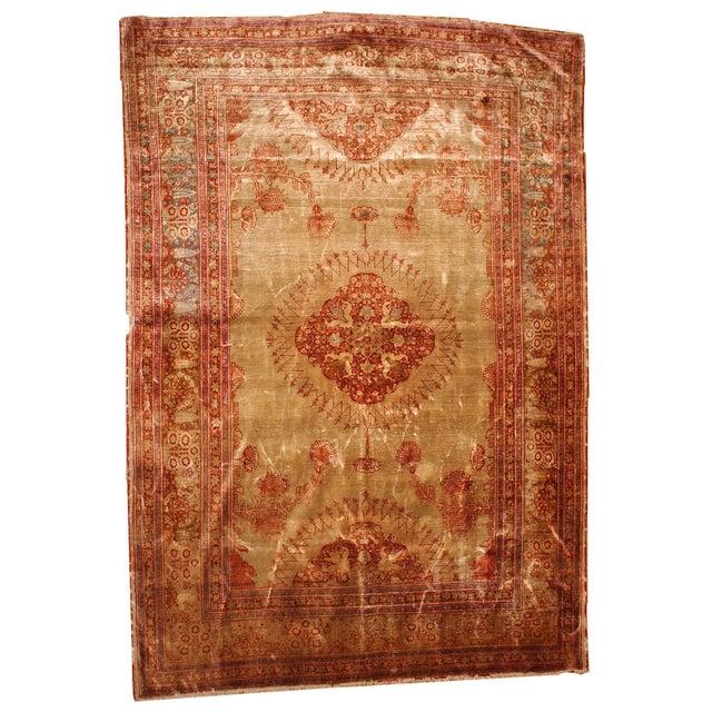 1880s Antique Persian Silk Tabriz Rug - 4' X 6' - Image 1 of 6