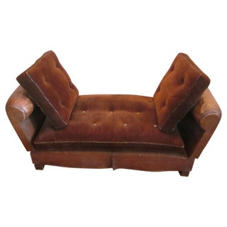 French Adjustable Leather Settee or Chaise Longue