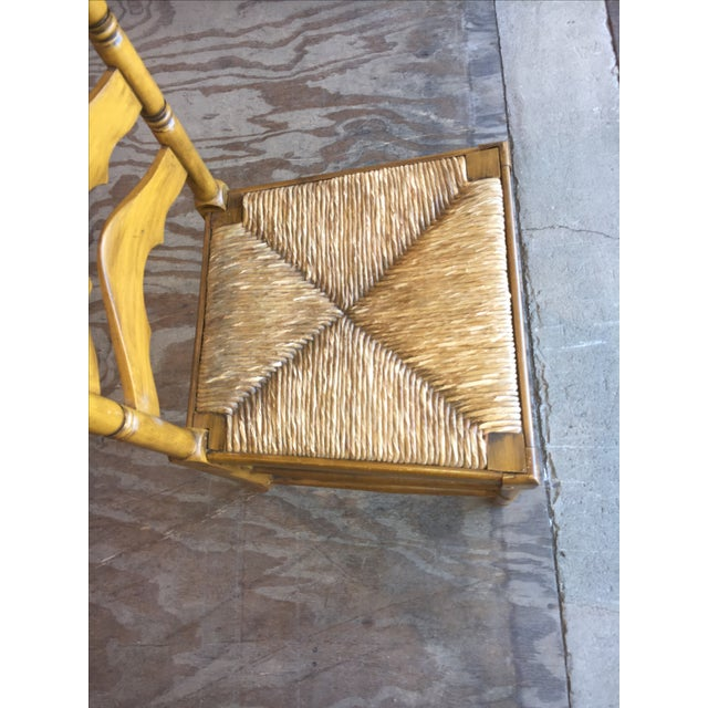 Antique Ladder Back Yellow Wood Chair - Image 9 of 10