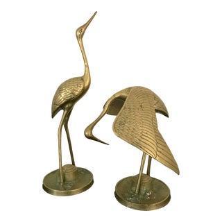 Mid-Century Brass Crane / Heron Sculptures - A Pair