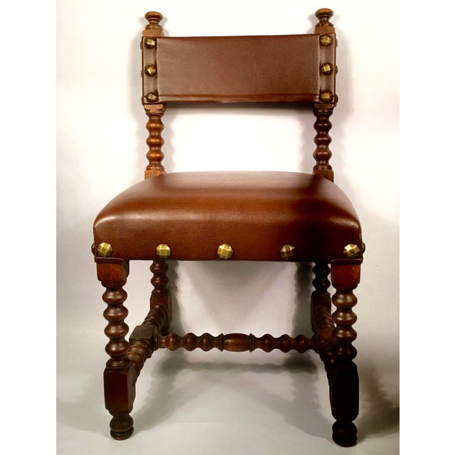 Image of Leather & Brass Child's Chair