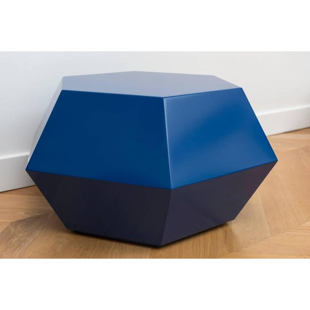 Lacquered Navy Faceted Cocktail Table - Image 4 of 6