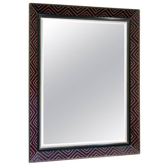 Image of Art Deco Egyptian Revival Style Incised Chevron Pattern Frame Wall Mirror