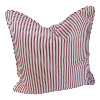 Burgundy Striped Ticking Throw Pillow