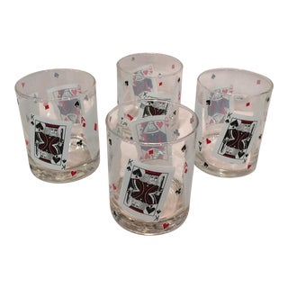 Poker Playing Card Lowball Glasses- Set of 4
