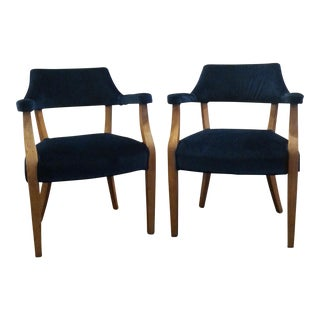 Navy Velvet Captain's Chairs - A Pair