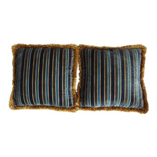 Custom Velvet Striped Pillows - A Pair