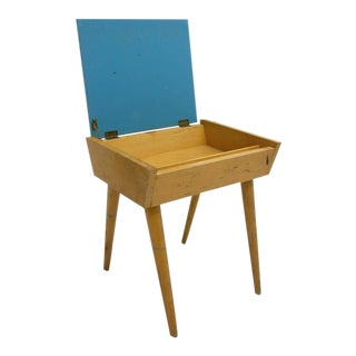 Mid-Century Blue Painted Birch Storage End Table
