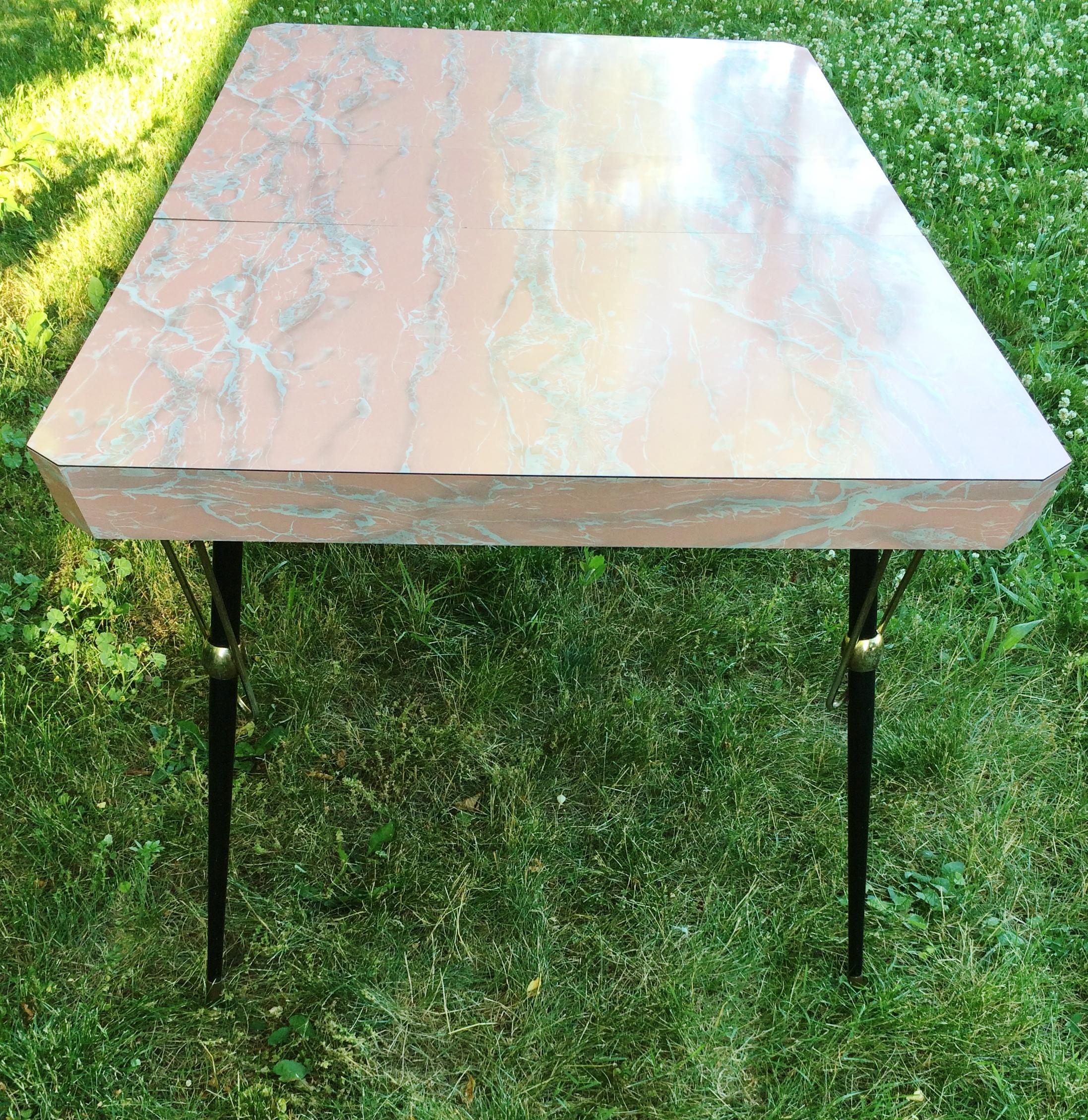 Vintage Pink Marble Formica Kitchen Dinette Table   Image 3 Of 11
