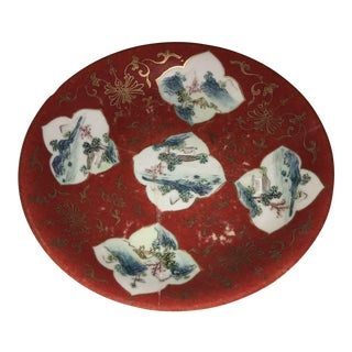 Red Oriental Porcelain Dish