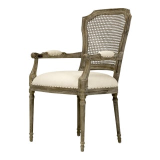 Spectra Home Carved French Linen Dining Arm Chair