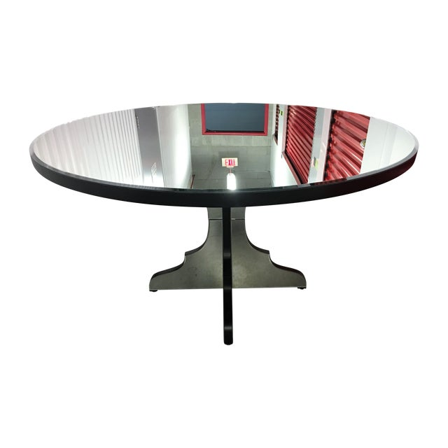 Foyer Mirror Height : Round beveled mirror dining entryway table chairish