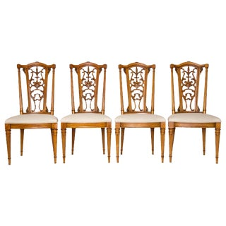 Louis XVI Dining Chairs with Brass Ormolu, S/4