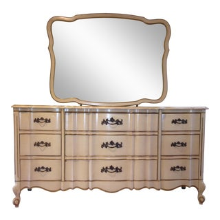 Vintage French Provincial Kent Coffey Gold & White Dresser & Mirror