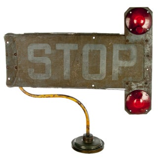 Vintage School Bus Stop Sign Arm Lamp
