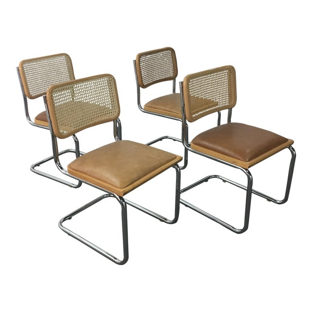 Vintage Breuer Cesca Style Chrome & Cane Chairs - Set of 4 - Image 1 of 8