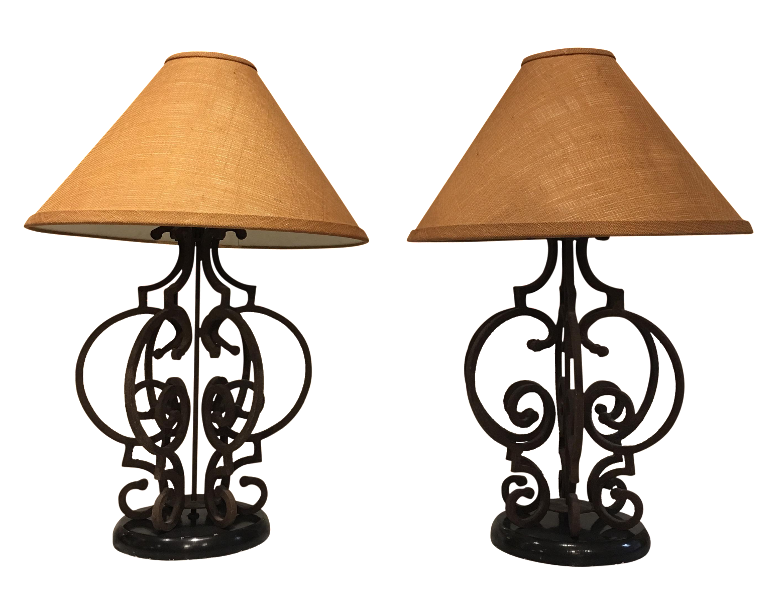 Wonderful Ornate Rustic Wrought Iron Table Lamps   A Pair   Image 1 Of 5