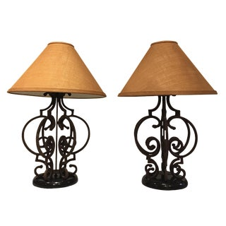 Ornate Rustic Wrought Iron Table Lamps - A Pair