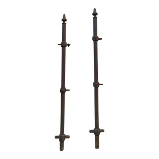 Antique Hair Pin Iron Gate Fence Post Fencing Architectural Salvage - A Pair