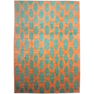 Aara Rugs Hand Knotted Modern Ikat Rug- 10′1″ × 13′3″