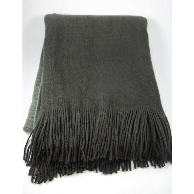 West Elm Ombre Gray Charcoal Fringe Throw - Image 3 of 4