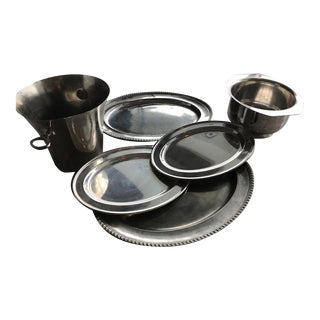 Silver & Silver Plated Vintage Serving Trays, Ice Bucket & Large Serving Bowl - Set of 6