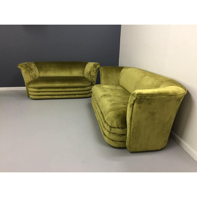 Chartreuse Art Deco Inspired Sofa & Loveseat - A Pair - Image 3 of 7
