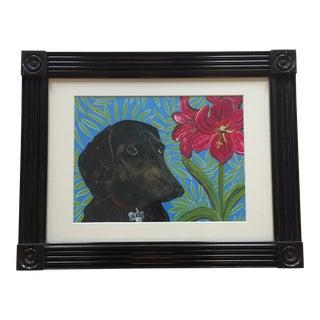 Dachshund & Amaryllis Dog Print by Judy Henn