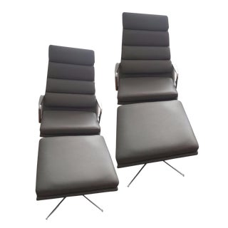 Eames Soft Pad Lounge Chairs & Ottomans - a Pair