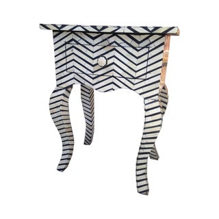 Vintage Bone Inlay Chevron Side Table