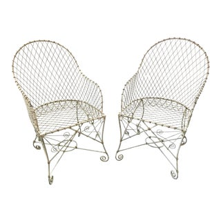 French Painted Wire Tub Back Chairs - a Pair