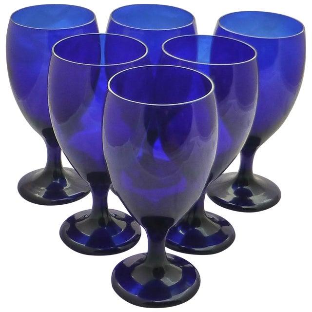 Image of Vintage Cobalt Water Goblets - 6