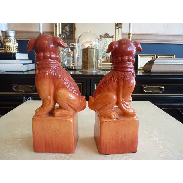 Orange Glaze Foo Dogs - A Pair - Image 5 of 7