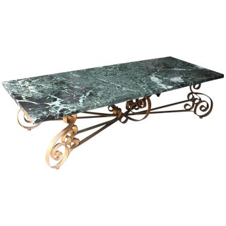 1940s French Art Deco Iron Marble Coffee Table