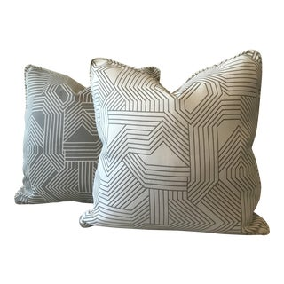Grey & Cream Geometric Print Pillows - A Pair