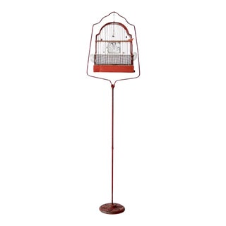 Antique Red Bird Cage with Cast Iron Stand
