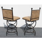 Image of Wrought Iron Swivel Bar Stools - A Pair