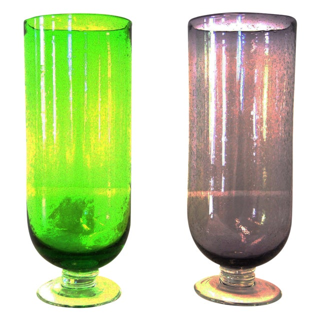 Footed Base Glass Vases - A Pair - Image 1 of 4