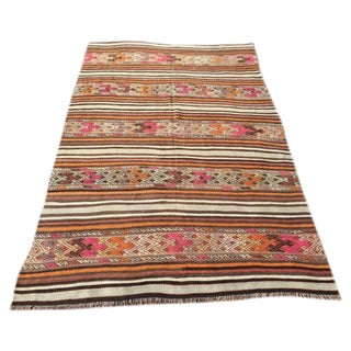 Vintage Turkish Kilim Rug - 5' x 7'7""