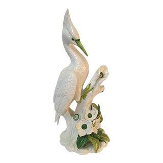 Italian Ceramic Egret Bird Figurine Signed Ronzan Italy