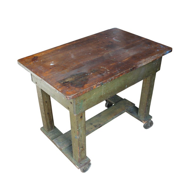Green Weathered Workbench - Image 3 of 3