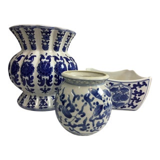 Blue & White Export Jardinieres - Set of 3