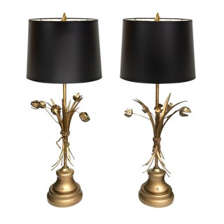 Mid-Century Italian Tole Floral Lamps - Pair