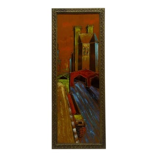 "Framed ""Gold Street Scene"" Hand Painted Oil on Velvet Painting"