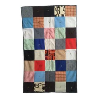 Vintage Hand-Sewn Folk Art Quilt Throw Blanket