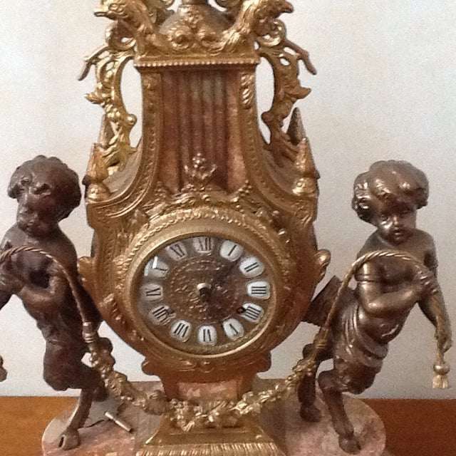 Marble Cherub Clock and Candelabras - Image 5 of 5