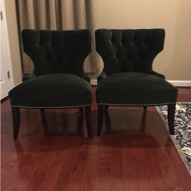 Arhaus Dark Green Velvet Accent Chairs - A Pair