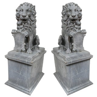 Italian Carved Marble Lions, circa 1900