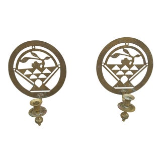 Brass Art Deco Candle Holders - A Pair